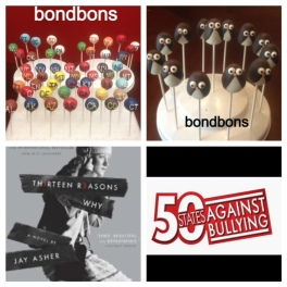 Bondbons made 51 cake pops representing all the states + D.C. and 13 Penguin cake pops for the publishers at Penguin.  A thank you from Jay Asher.
